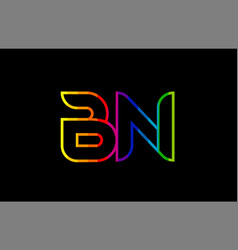 rainbow color colored colorful alphabet letter bn vector image