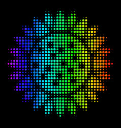rainbow colored pixel sunflower icon vector image