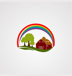 rainbow home farm logo icon element and template vector image