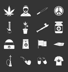 Rastafarian icons set grey vector