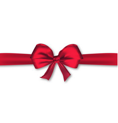 realistic decorative red satin bow with horizontal vector image