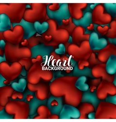 Red and turquoise heart Valentines day card Love vector image