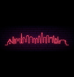 red neon skyline of seoul city bright seoul long vector image