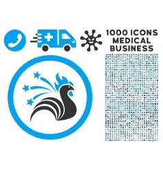 Rooster Rounded Icon With Medical Bonus vector image