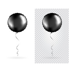 set black round shaped foil balloons vector image