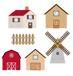Set of farm buildings and constructions set of vector