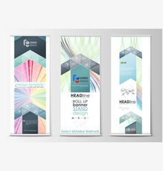 Set of roll up banner stands geometric flat style vector