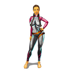 sexy girl in latex suit with leather straps vector image