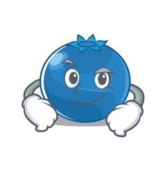 Smirking blueberry character cartoon style vector