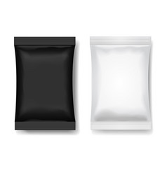 Snack package black white blank food packaging vector