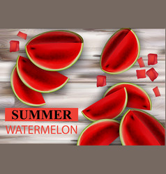 summer watermelon fruits slices on wooden vector image