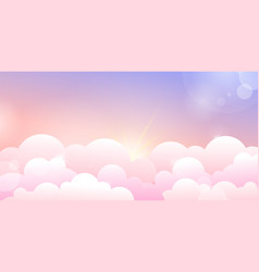 sunset or sunrise sky and rose clouds vector image