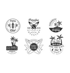 Surfing club retro logo templates set paradise vector