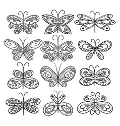 twelve hand drawn butterflies appropriate for vector image