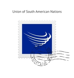 Union of South American Nations Flag Postage Stamp vector image