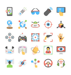Virtual reality and drones flat icons pack vector