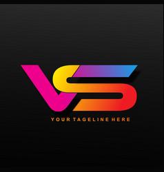Vs letter alphabet logo design image vector