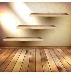 Wall shelves on grunge interior EPS 10 vector