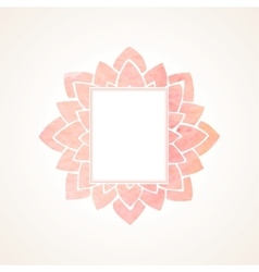 Watercolor pink floral frame vector image