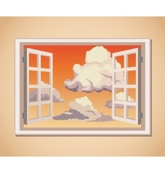 window with sunset view clouds vector image