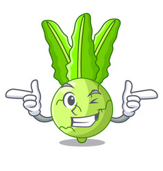 Wink character kohlrabi on a wooden table vector