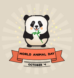 World animal day card with cute panda and vector