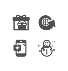 World globe delivery boxes and weather phone vector