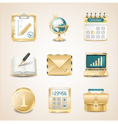 Business icons of gold vector image vector image