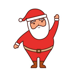 christmas happy santa claus waving hand funny vector image