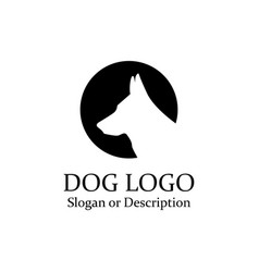 dog wolf logo minimalist black circle - isolated vector image vector image