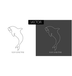 fish shark dilfin orca icon on white and black vector image