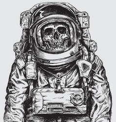 Hand drawn astronaut skull vector