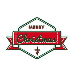 Merry christmas greeting event emblem vector