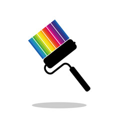 paint roller and strips of paint of different vector image vector image