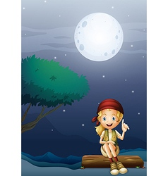 A girl sitting on a wood in a moonlight scenery vector image vector image
