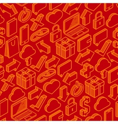 abstract seamless pattern with isometric icons vector image vector image