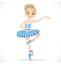Cute ballerina girl dancing in blue dress vector image vector image
