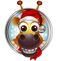 cute christmas giraffe head cartoon vector image