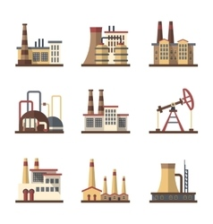 Factory industrial building and manufacturing vector image vector image