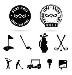 golf black icon and symbol vector image