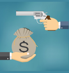 hand holding pistol and another hand giving money vector image
