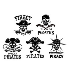 pirate symbols and jolly roger icons set vector image vector image