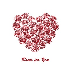 roses in the shape of heart vector image