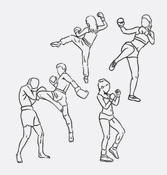 thai boxing sport hand drawing vector image vector image