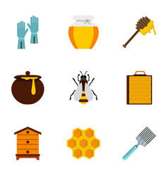apiculture icons set flat style vector image