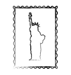 blurred silhouette frame of statue of liberty vector image vector image