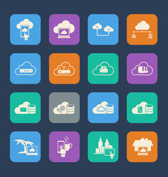 cloud computing icons set flat design for website vector image vector image