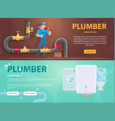 colorful plumbing horizontal banners vector image