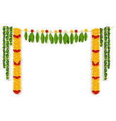 indian garland of flowers and leaves religion vector image vector image