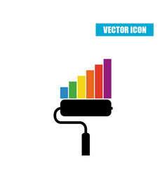 paint roller statistic chart icon isolated on vector image vector image